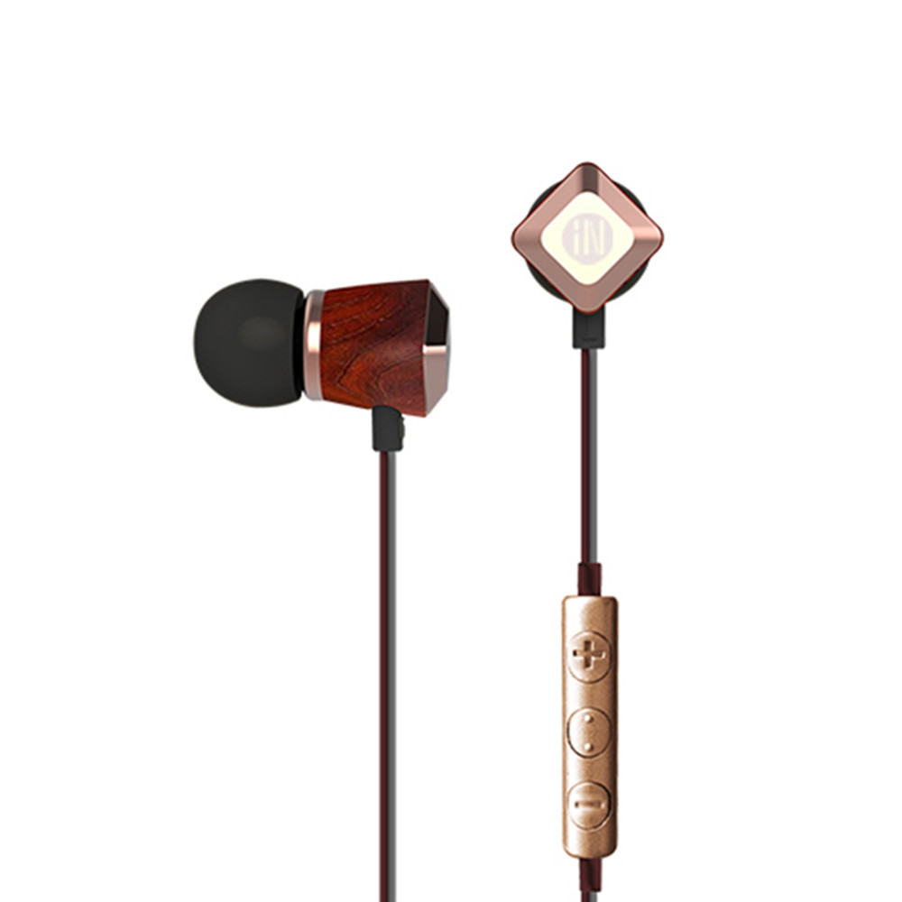 New Arrival inshed IC330 In Ear Earphone Wooden earphone Earbuds HIFI DIY Subwoofer Wooden Earphone with Microphone