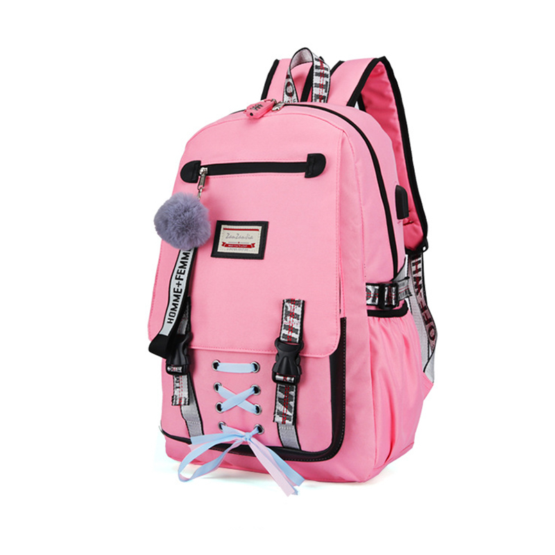 HTB1Ng3qa2WG3KVjSZPcq6zkbXXa2 Pink Canvas Backpack Women School Bags for Teenage Girls Preppy Style Large Capacity USB Back Pack Rucksack Youth Bagpack 2019