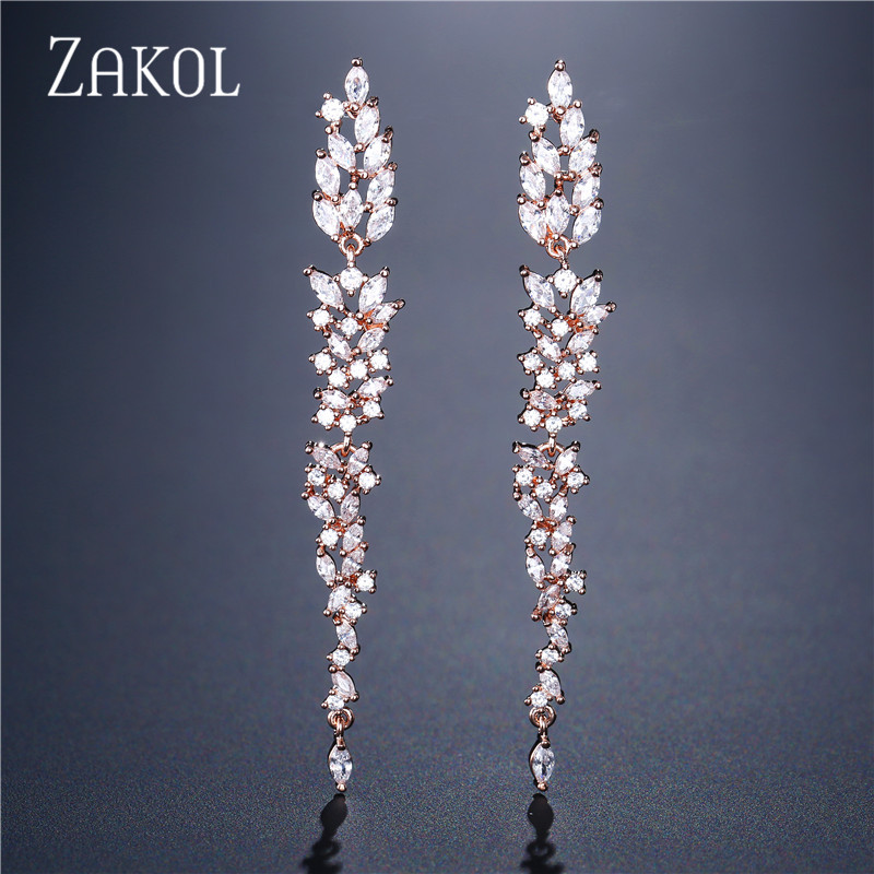 ZAKOL Exquisite Wedding Design Leaf Ear Line Long Dangle Drop Earrings Jewelry Cubic Zironia Brincos for Women Bijoux FSEP2155 pair of exquisite gemstone embellished leaf shaped long earrings for women