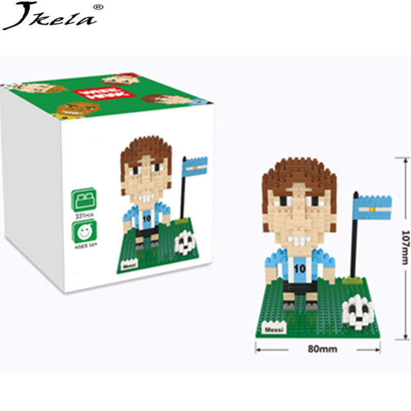 [Jkela] Messi Football Players Soccer Building Blocks Toys For Children Compatible Legoingly City Russia cup Figures DIY Bricks