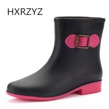 HXRZYZ женщин лодыжки дождь сапоги дамы черные резиновые сапоги весна / осень новая мода пряжка Slip-Resistant водонепроницаемая обувь женщин