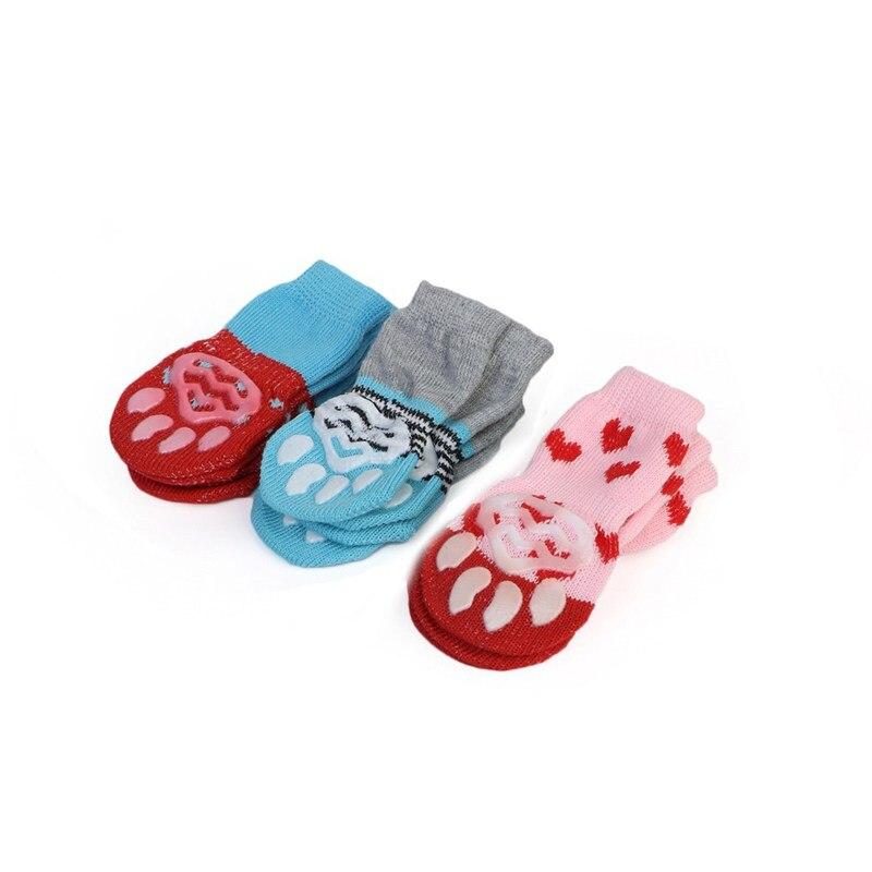 Cute 4pcs/set Indoor Pet Dog Socks Soft Quality Cotton Warm Antiskid Paws Dirts Away Easy Washing Dog Cat Shoe Socks
