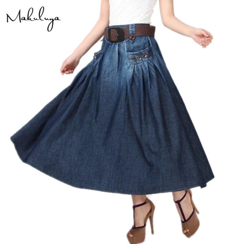 Makuluya été automne printemps femmes nouvelle mode Long Denim lâche décontracté élastique taille jupes bouton décoration avec ceinture QW