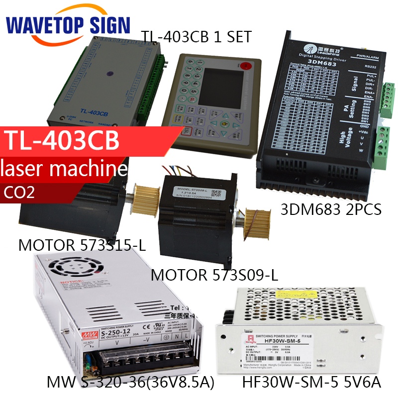 laser machine control card TL403+2 motor +two driver 3dm683+36V8.5A power supply 1pcs +5V6A power supply 1pcs
