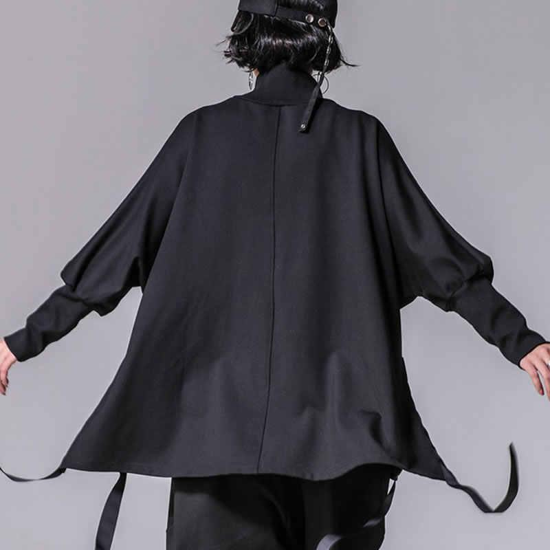 XITAO bandaj kadın T shirt artı boyutu rahat Batwing kollu balıkçı yaka yarık Streetwear kadın kıyafetleri kore 2019 yeni XWW2955