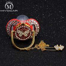 MIYOCAR white Rhinestone bling pacifier dummy butterfly red clip holder set BPA free FDA safe
