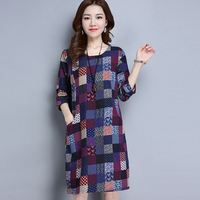 2017 Spring One Piece Dress Fashion Doodle Plaid Long Sleeve Female Clothes Green Purple Dress Patchwork