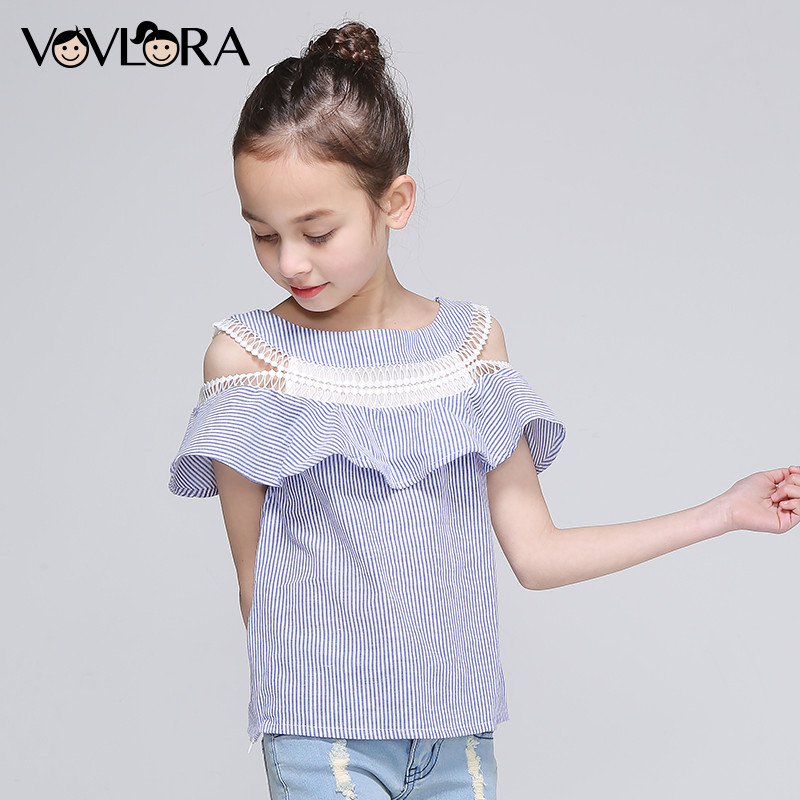 Girls Shoulder Blouse Striped Lace Patchwork Kids Ruffles Blouses Cotton Chiffon Clothes Summer 2018 Size 7 8 9 10 11 12 Years shoulder cut plus size flower blouse