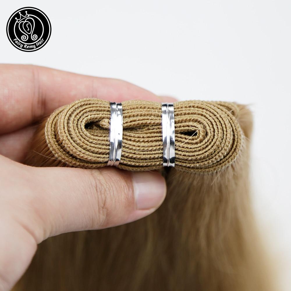 Fairy Remy Hair 100g/pc 20 Inch Remy Human Hair Weft Dark Brown European Straight Hair Extension Strawberry Blonde Weaves Bundle