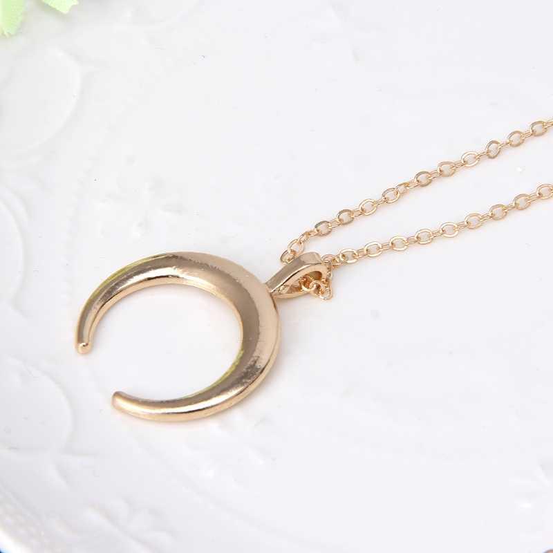 אופנה טרנדי Boho חצי ירח סהר סגסוגת שרשרת לנשים זוגי הורן תליון שרשרת קולר תכשיטי מתנת יום הולדת