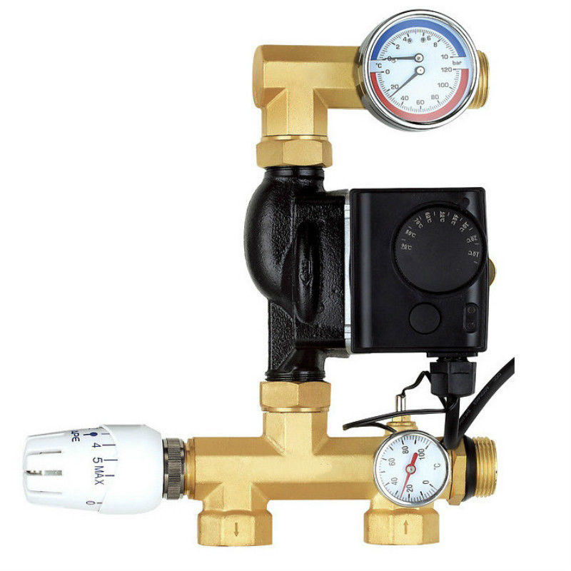 Water Underfloor Heating Manifold Pump mixing valve unit brass цена