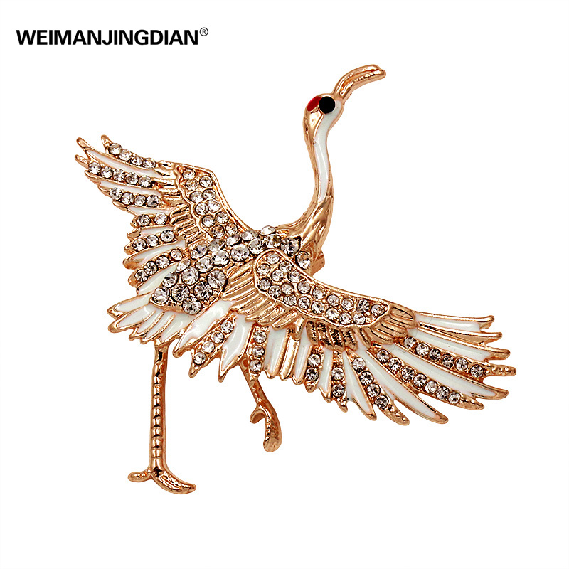 Factory Direct Sale Crystal Rhinestones and Enamel Crane Brooch Pins for Women