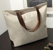 Frauen Leinwand Handtasche Casual Unterschrift Baumwolle Schulter Tasche Kostenloser Versand