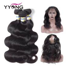Brazilian Body Wave 360 ​​Snörning Frontal Closure Med Bundle Mänskligt Hår 3 Bundlar With Closure Yyong Natural Hairline Snörning Frontal