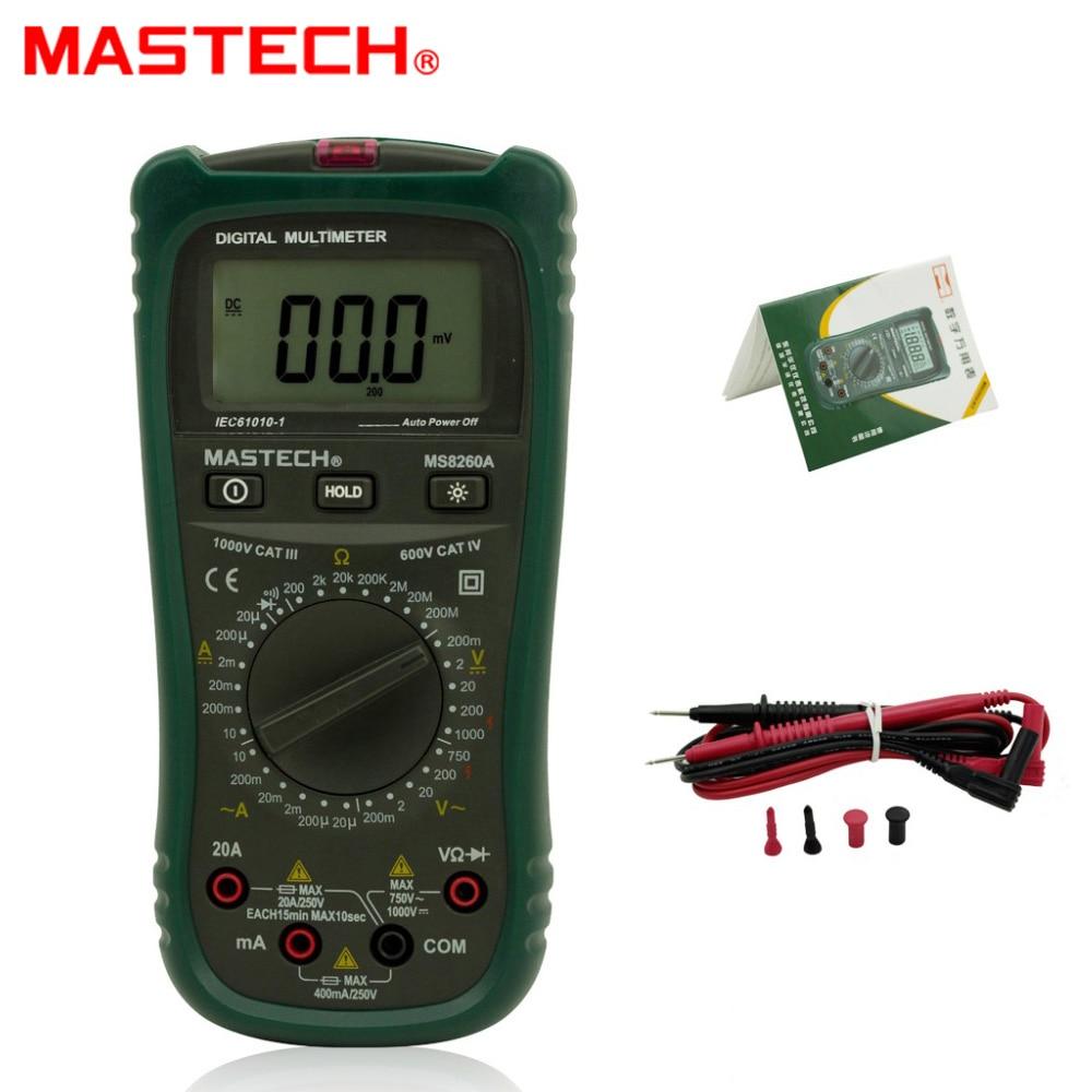 MASTECH MS8260A Digital Multimeter AC/DC Voltage Current Resistance Meter 1 pcs mastech ms8269 digital auto ranging multimeter dmm test capacitance frequency worldwide store