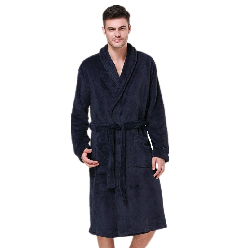 High Quality Coral Velvet Robe For Male Winter Warm Kimono Bathrobe Gown Navy Blue Sleepwear Long Casual Nightgown Nightwear