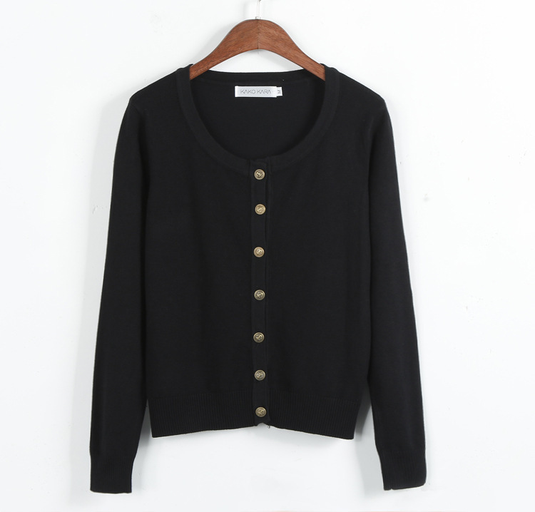 Vintage Black Sweaters Short Slim Knitted Buttons Up Women ...