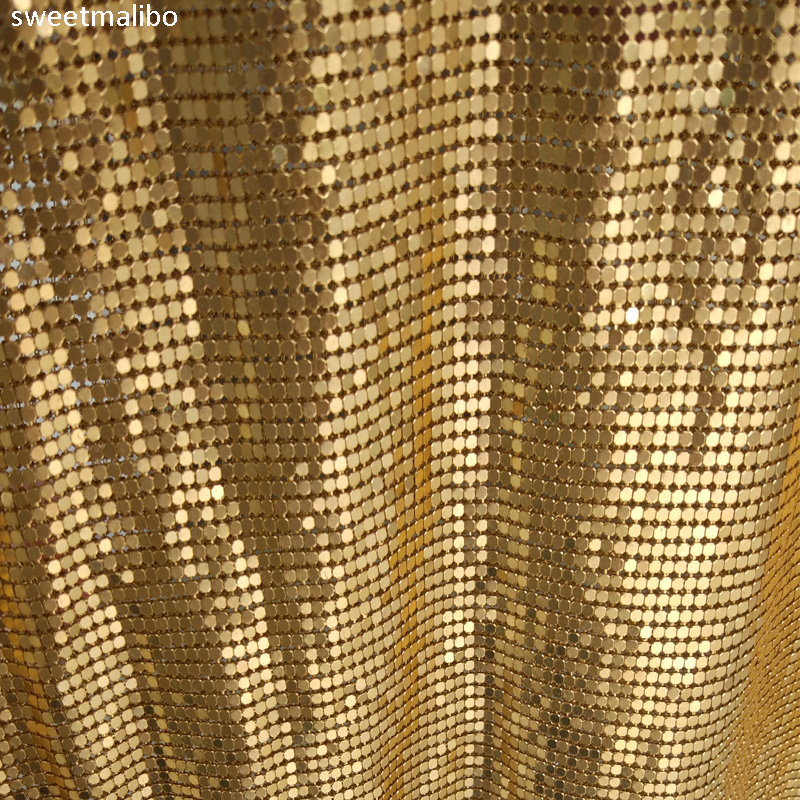 45*150cm Cheap gold silver nickel metallic metal mesh sequin fabric for curtains sexy women evening dress tablecloth swimwear