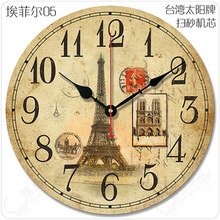12″Big Modern Eiffel Tower Design Wall Clock Vintage Antique Wooden Wall Clock Retro Large Living Room Wall Clock Decor
