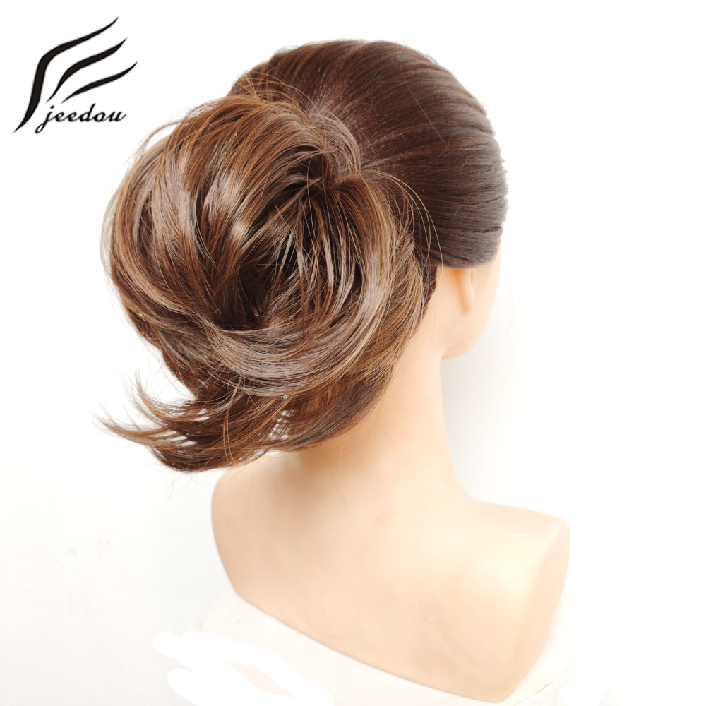 Jeedou Synthetic Hair Donut Chignon Hair Extensions 30g Hair Bun Pad Rubber Band Hairpieces Real Natural Elegant Updos
