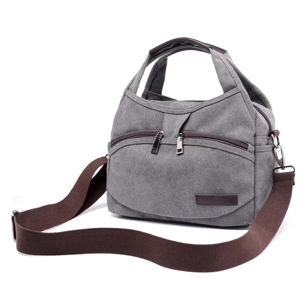 Women s Canvas Handbags Female Hobos Single Shoulder Bags Woman Crossbody  Pack Solid Multi-pocket Ladies d4a6ae8e29
