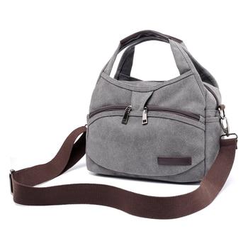 Women's Canvas Handbags Female Hobos Single Shoulder Bags Woman Crossbody Pack Solid Multi-pocket Ladies Totes