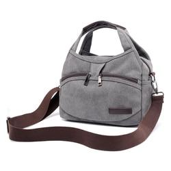 Women's Canvas Handbags Female Hobos Single Shoulder Bags Woman Crossbody Pack Vintage Solid Multi-pocket Ladies Totes Bolsas