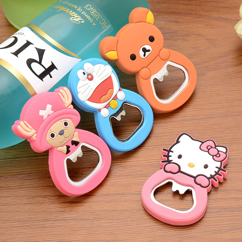 Multifunction Silicone Cartoon Stainless SteelBeer Bottle Opener With Magnet Fridge Magnet