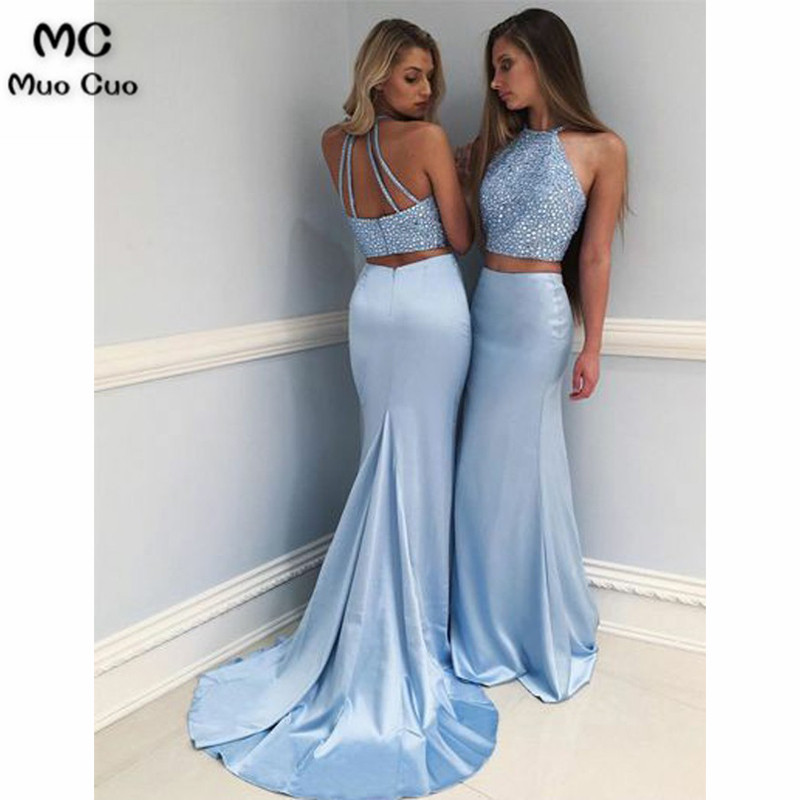 Elegant 2018 Two Pieces Gown Mermaid   Evening     Dresses   with Beaded Prom   Dresses   Long Floor Length Halter Formal   Evening     Dress