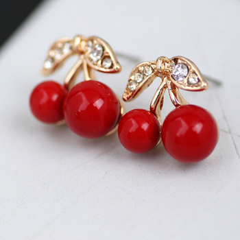 Red Cherry Stud Earring