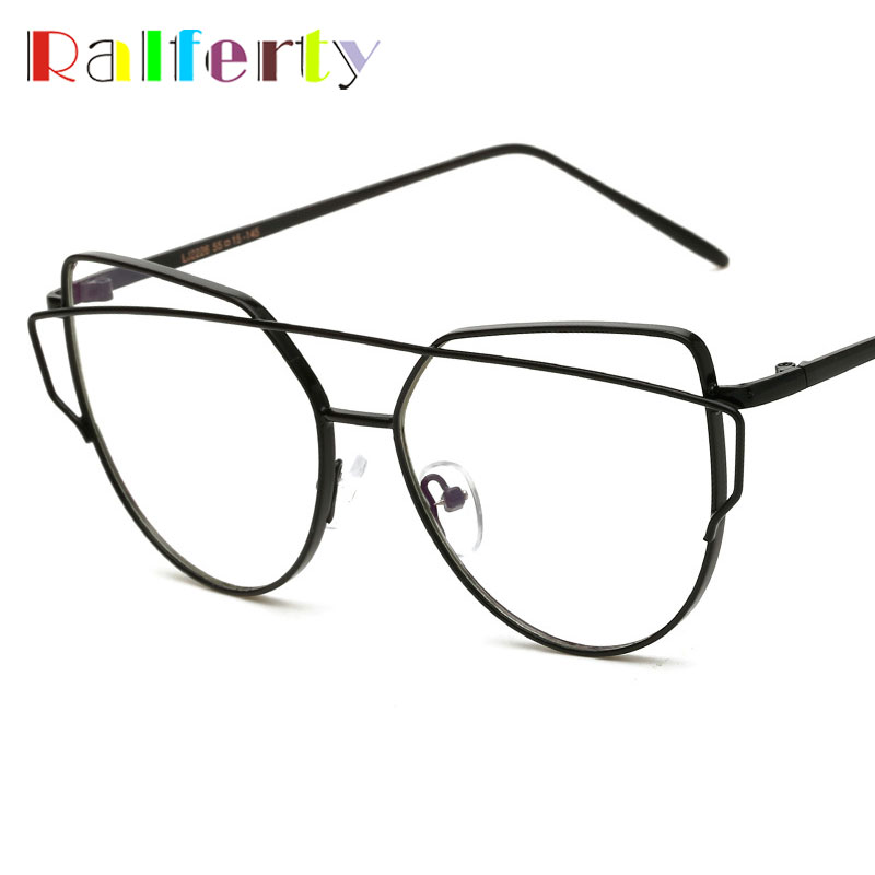 இRalferty Oversized Cat Eye Glasses Frame With Clear Lens Vintage ...