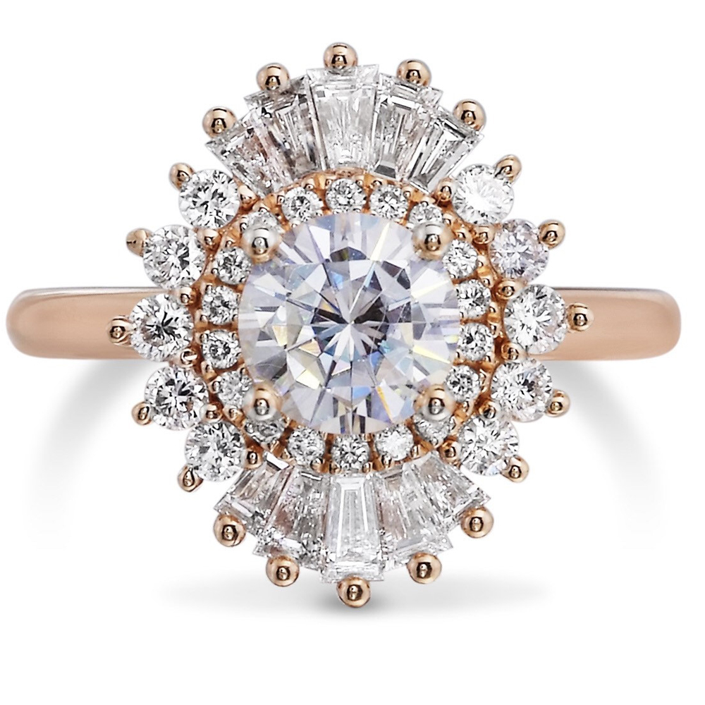 Round Brilliant Cut Moissanite Engagement Ring 1.00 carat 6.5mm with Luxurious Side Stone Halo Solid 14k Rose Gold