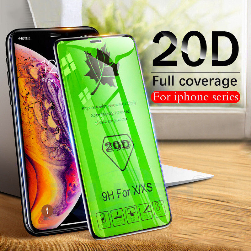 20D Curved Edge Full Cover Protective Glass On The For IPhone X XR XS Max 7 8 Plus Tempered Screen Protector For 6 6S Glass Film