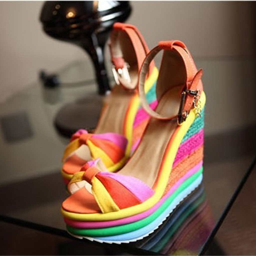 Summer Sandals High-Heels Ladies Wedges Toeromanshoes Multicolor Women Peep title=
