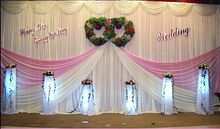 20ft*10ft white&pink wedding backdrop curtain with swag wedding drapes , wedding stage backdrop party decor