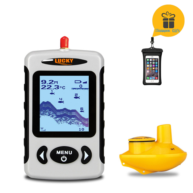 LUCKY Wireless Russian Sonar Portable Fish Finder Sensor Echo Sounder Alarm River Lake Sea Bed Live