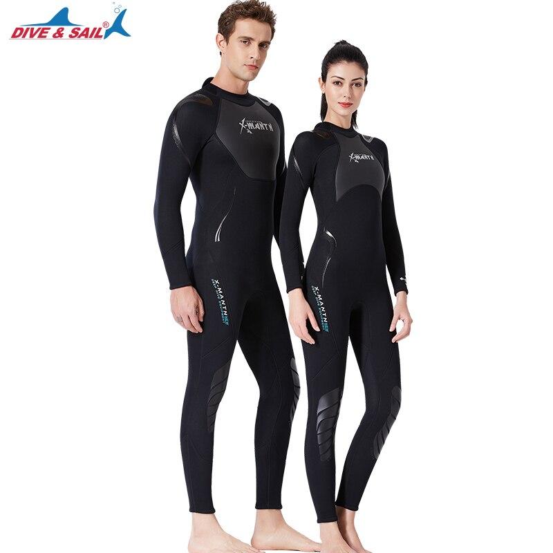 Neoprene wetsuits de uma peça 3mm peles de mergulho equipamento ao ar livre esportes aquáticos ternos de salto molhado roupa de banho inverno para mulher e homem