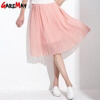 GAREMAY Women Long Chiffon Skirts Summer Pleated Black White Skirt School Faldas Largas Plus Size Bohemian