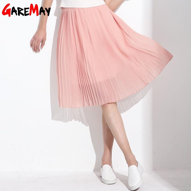Garemay Women Long Chiffon Skirts Summer Pleated Black -7746