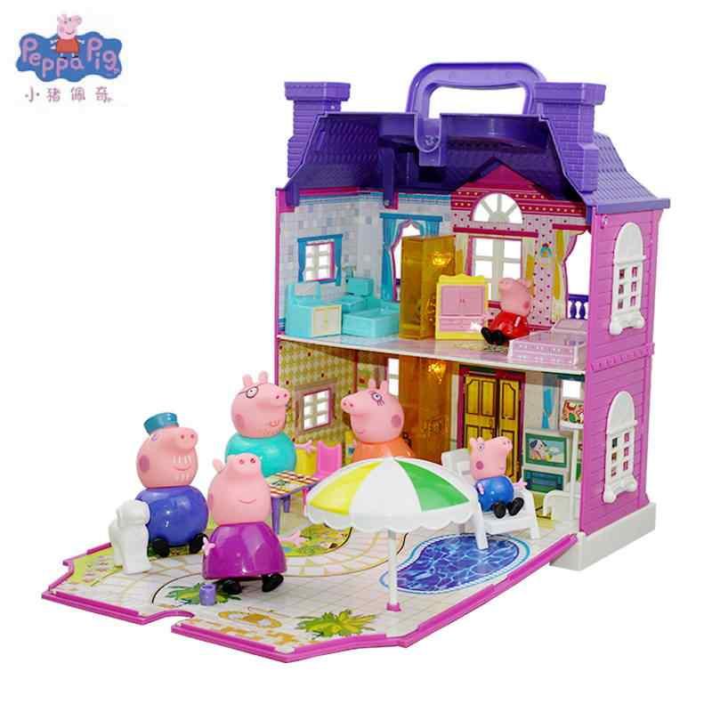 Gran oferta, Peppa Pig, lujosa Villa Roadster, tienda de hamburguesas Peppa Pig's House, juego con figuras de Anime, juguetes, regalo para niños