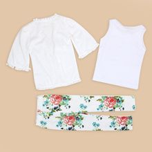 3PCS Fashion Girl Summer Clothing Set Real Puseky Toddler Kids Baby Girls Coat+Tank Tops+Long Pants Summer Outfit Clothes Set
