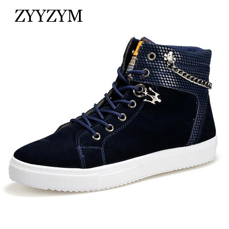 ZYYZYM Lace-up Help Style Man Casual Shoes Spring Autumn Fashion Trend Top Keep Warm Cotton Shoes