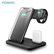 FDGAO Fast ชาร์จ 15W 3 In 1 Qi Wireless Charger สำหรับ Apple 5 4 3 Airpods Pro สำหรับ iPhone 11 XS XR X 8 Samsung S20 S10 S9