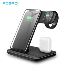 FDGAO Fast Charging 15W 3 In 1 Qi Wireless Charger for Apple Watch 5 4 3 Airpods Pro For iPhone 11 XS XR X 8 Samsung S20 S10 S9