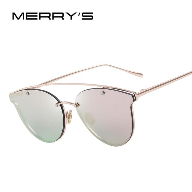 MERRY'S Women Vintage Cat Eye Sunglasses Rimless Double beam Frame Coating Mirror Flat Panel Lens S'8046