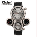 Factory outlets Fashion Men watch Brand wristwatch OULM watch Multiple Time Zone Quartz watch black