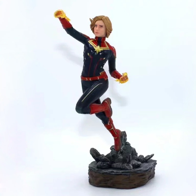 Anime 1/10 Scale Painted Figure Avengers Two Head Ver. Captain Marvel Statue Action PVC Figure Toy Brinquedos 24CM