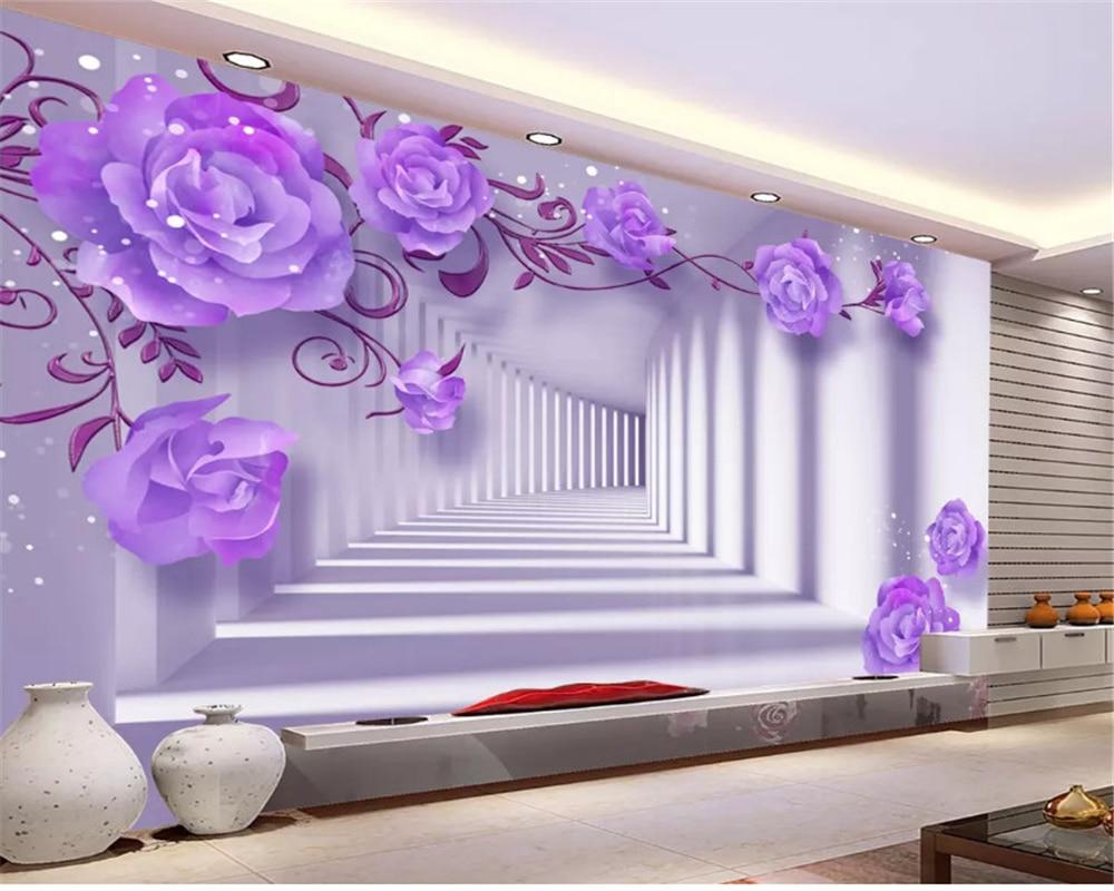 Beibehang HD Fresco 3D Ungu Timur Elegan Rose Latar Belakang Dinding Papel De Parede untuk Quarto