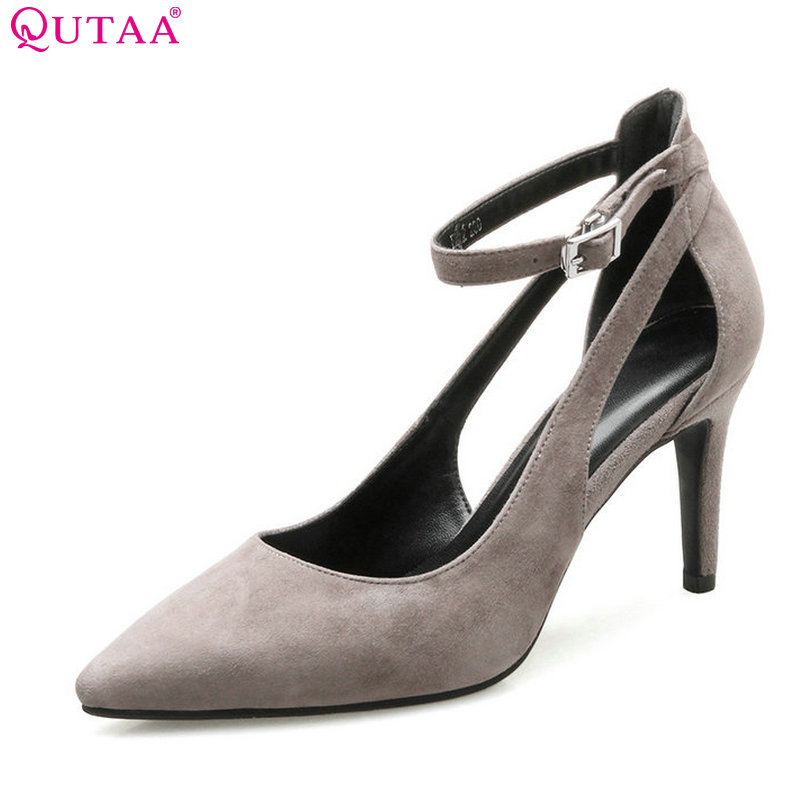 QUTAA 2017 Women Pumps Thin High Heel Pointed Toe Kid Suede Ankle Strap Simple And Fashion Style Ladies Wedding Shoes Size 34-41 2015 temperament high heel women pumps rhinestone ankle strap pointed toe ladies wedding shoes