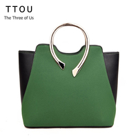 TTOU Women Fashion Panelled Handbag Casual Suede Pu Tote Bag For Lady Metal Handle Shoulder Bag